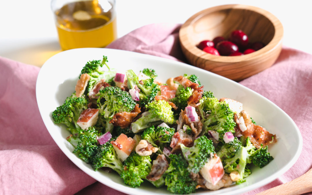 Cranberry Oil Broccoli Bacon Salad